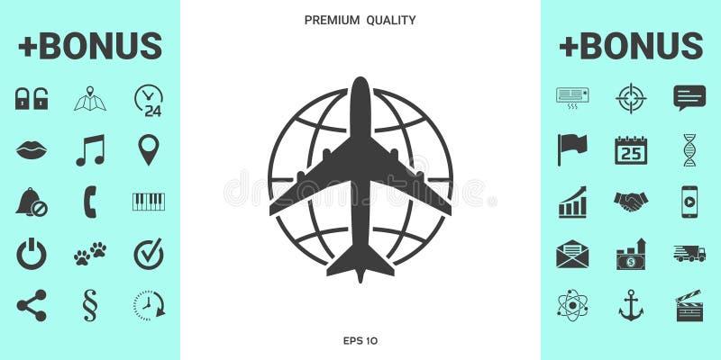 Aarde en Vliegtuigembleem stock illustratie