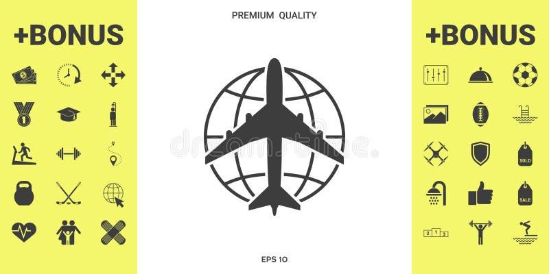 Aarde en Vliegtuigembleem vector illustratie