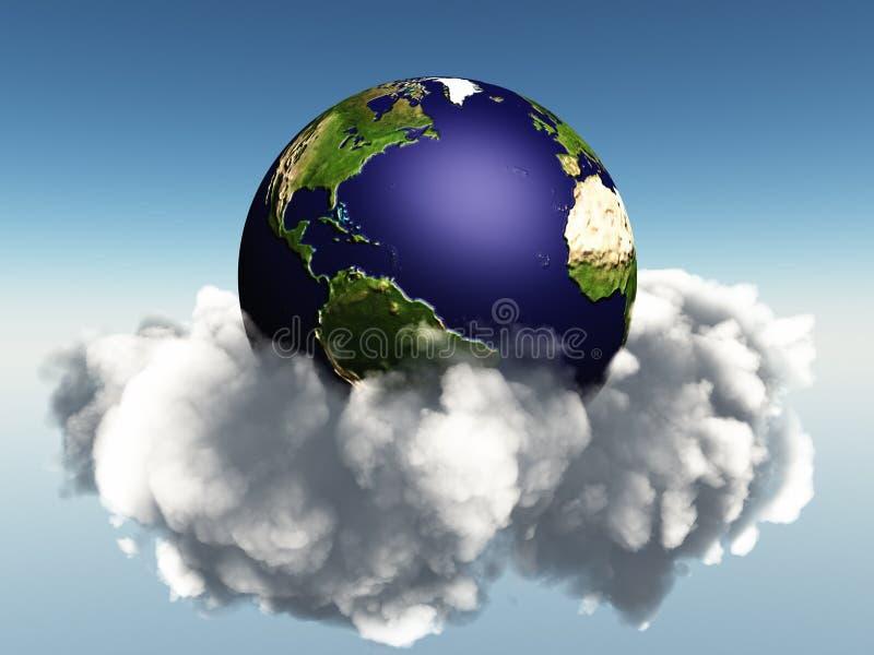 Aarde en wolken vector illustratie