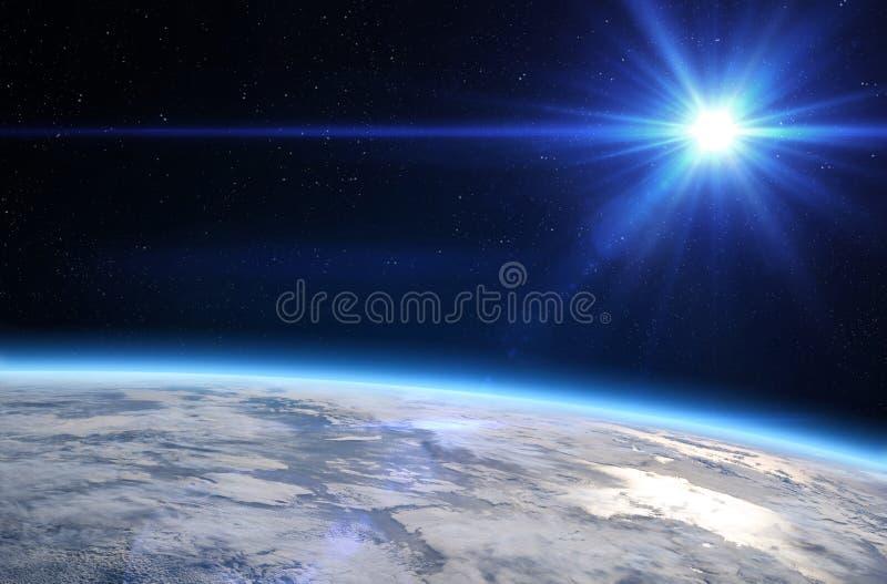 Aarde en zon stock illustratie