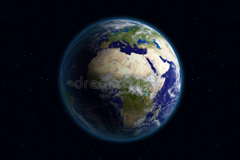 Aarde - Europa & Wolken stock illustratie