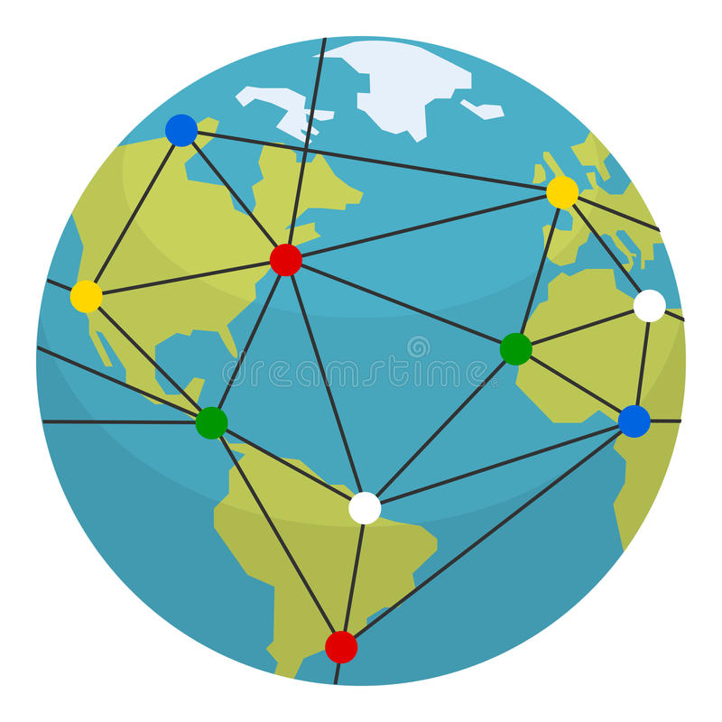 Aarde, Globaliserings & Verbindingen Vlak Pictogram stock illustratie