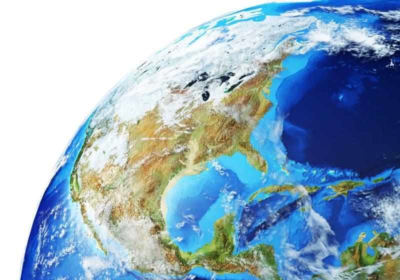 Aarde-globe close-up Noord-Amerika stock foto's