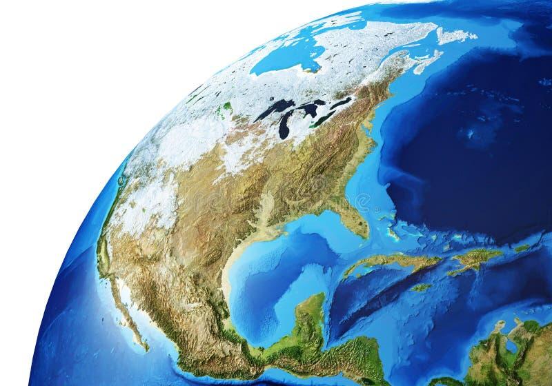 Aarde-globe close-up van Noord-Amerika royalty-vrije stock afbeeldingen