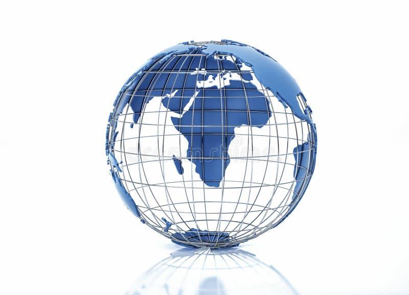 Aarde-globe gestileerd met metaalraster Pacifische oceaanweergave royalty-vrije stock fotografie