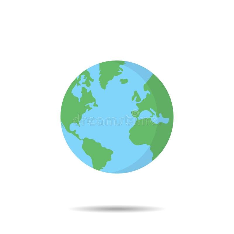 Aarde-globe in trendy platte, geïsoleerde vectorillustratie Platte planeet op witte achtergrond stock illustratie