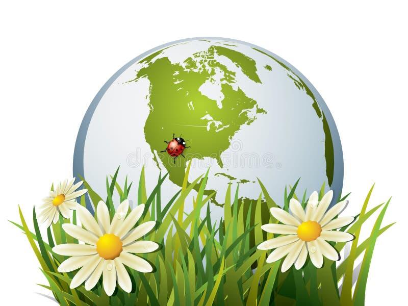 Aarde in gras vector illustratie