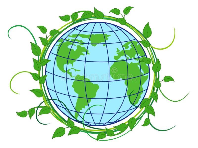 Aarde in groene kroon wordt gehuld die vector illustratie
