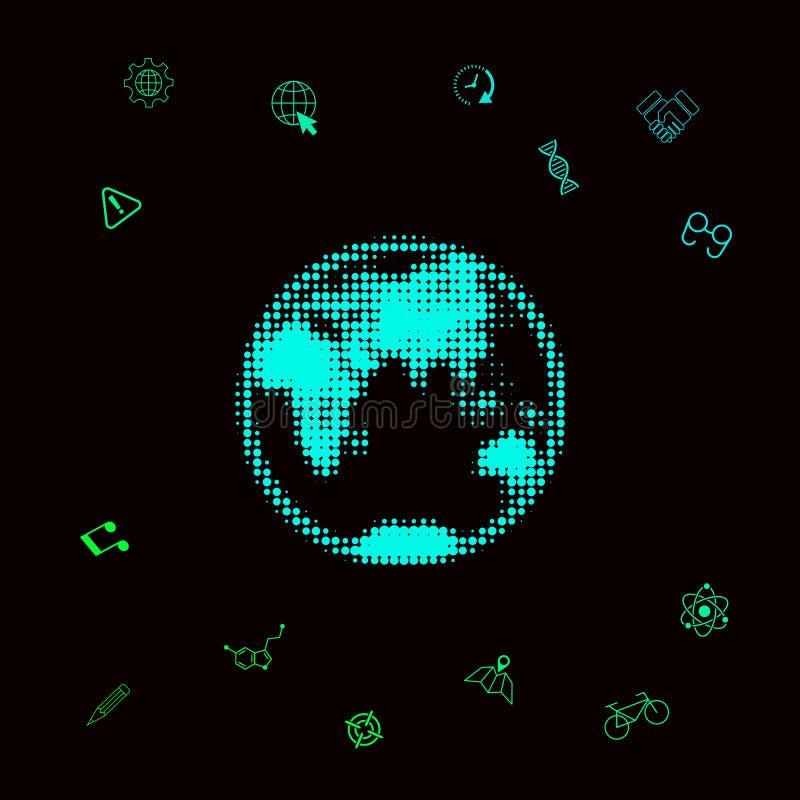 Aarde - halftone embleem royalty-vrije illustratie