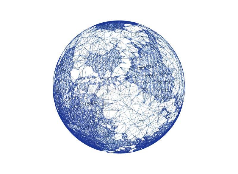 Aarde, Internet-geïsoleerd Concept van globale zaken vector illustratie