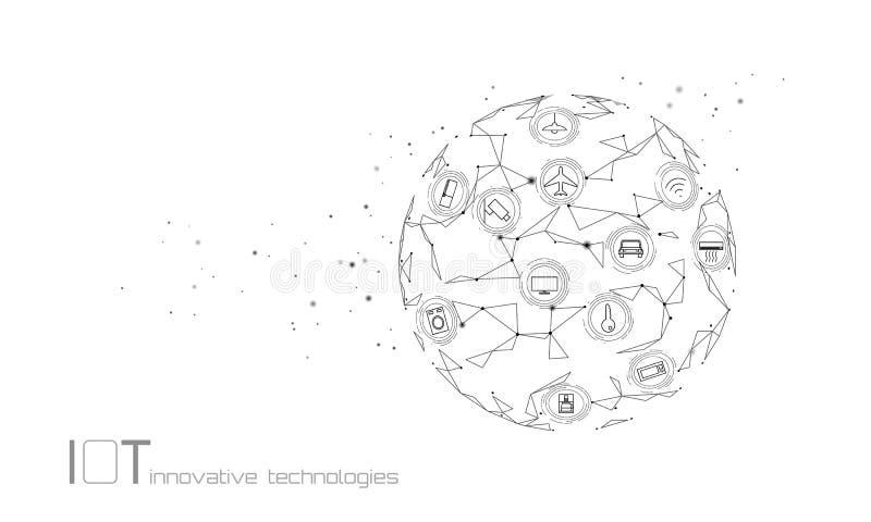 Aarde Internet van het concept van de de innovatietechnologie van het dingenpictogram ICT van het draadloze communicatienetwerk I stock illustratie