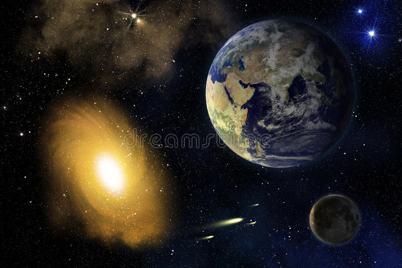 Aarde, Maan en melkweg. royalty-vrije illustratie