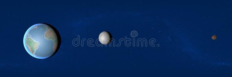 Aarde, maan en stervormig, ruimte, 2004 BL86 vector illustratie