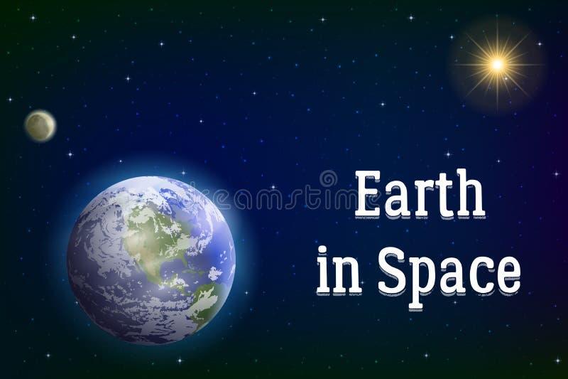 Aarde, maan en zon vector illustratie