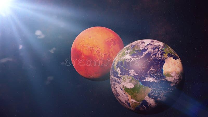 Aarde, Mars en de Zon, naburige planeten in kosmische ruimte royalty-vrije stock fotografie