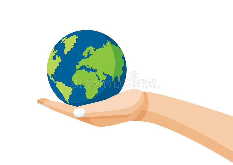 Aarde in menselijke hand vector illustratie