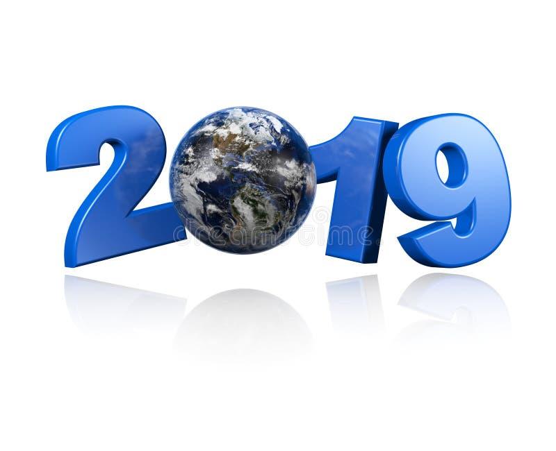 Aarde met Amerika gecentreerd menings 2019 ontwerp stock illustratie
