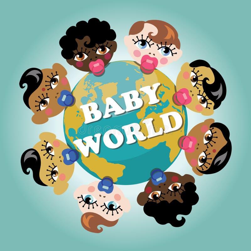 Aarde met baby geboren gezichten stock illustratie