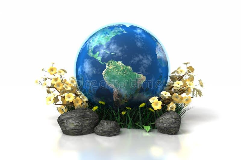 Aarde met bloemengras en rotsen vector illustratie