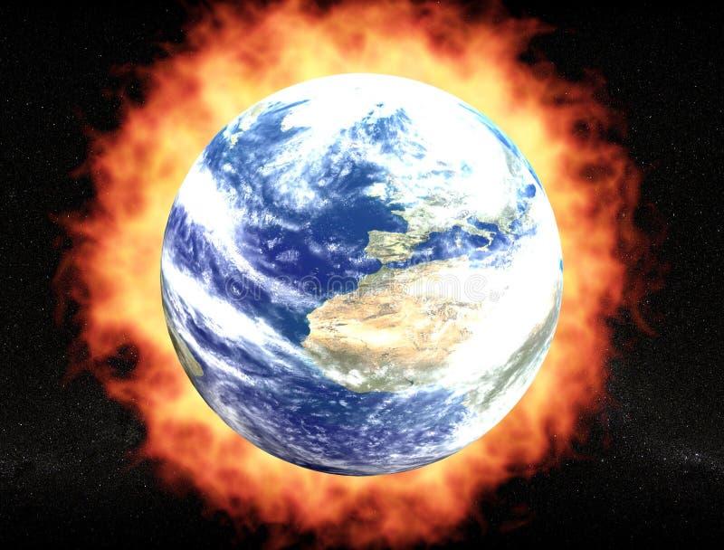 Aarde met brandaureool stock illustratie