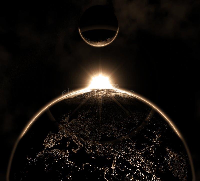 Aarde met de Huren van de Maan vector illustratie