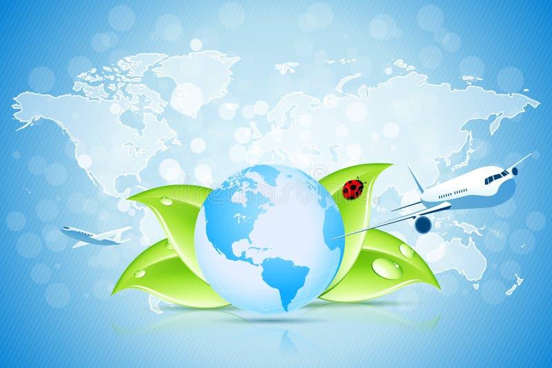 Aarde met de Kaart van de Wereld vector illustratie