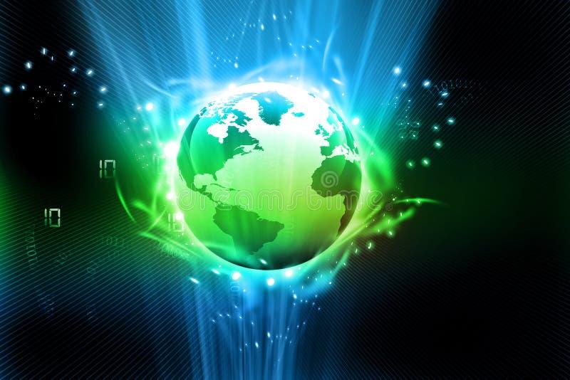 Aarde met digitale vezels stock illustratie