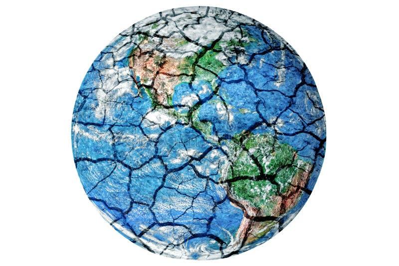 Aarde met droge en gebarsten textuur Globale verwarmende conceptuele pic royalty-vrije stock fotografie