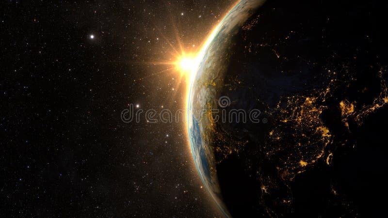 Aarde met een Spectaculaire Zonsondergang royalty-vrije illustratie