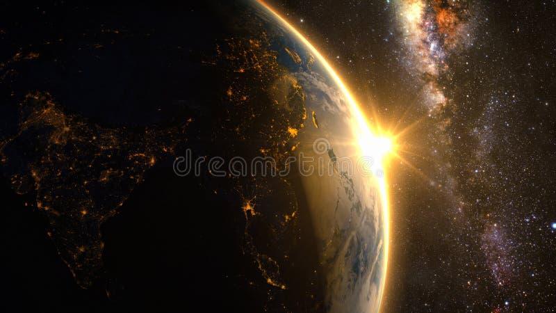 Aarde met een spectaculaire zonsopgang vector illustratie