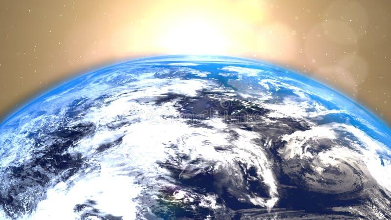 Aarde met een zonsopgangachtergrond stock illustratie