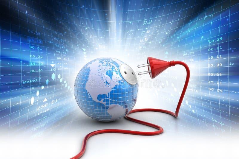 Aarde met elektrische kabel royalty-vrije illustratie