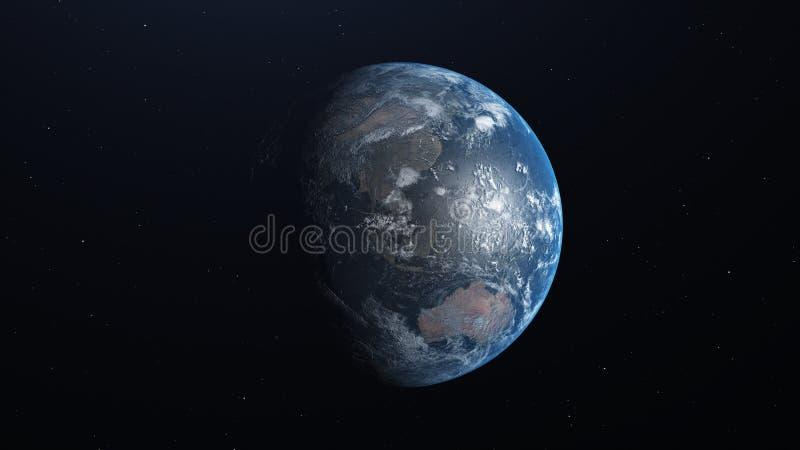 Aarde met gedetailleerde hulp en atmosfeer 3D Illustratie vector illustratie
