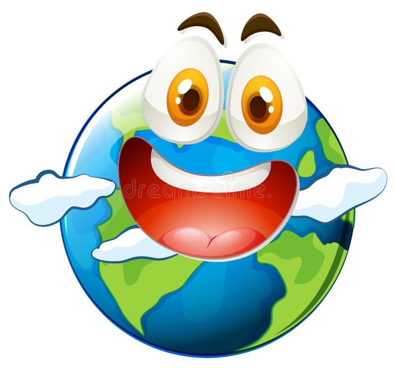 Aarde met gelukkig gezicht royalty-vrije illustratie