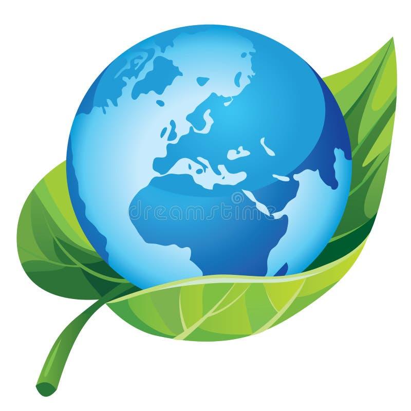 Aarde met groen blad royalty-vrije illustratie