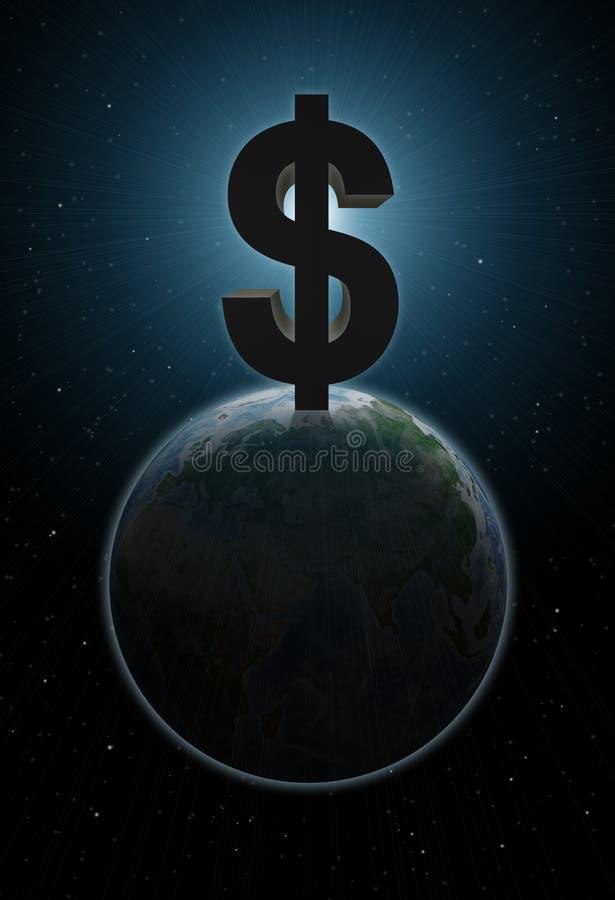 Aarde met groot dollarteken boven het vector illustratie