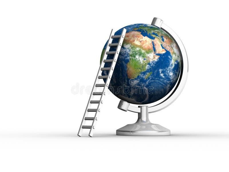 Aarde met ladder royalty-vrije illustratie