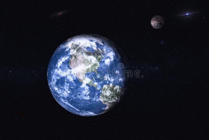 Aarde met Mars in de ruimte stock afbeeldingen