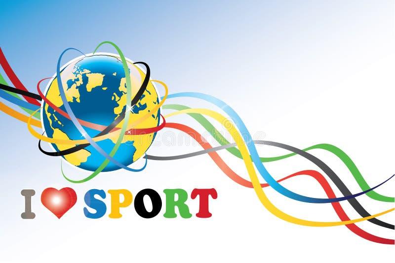 Aarde met Olympische ringen en Olympische banden stock illustratie