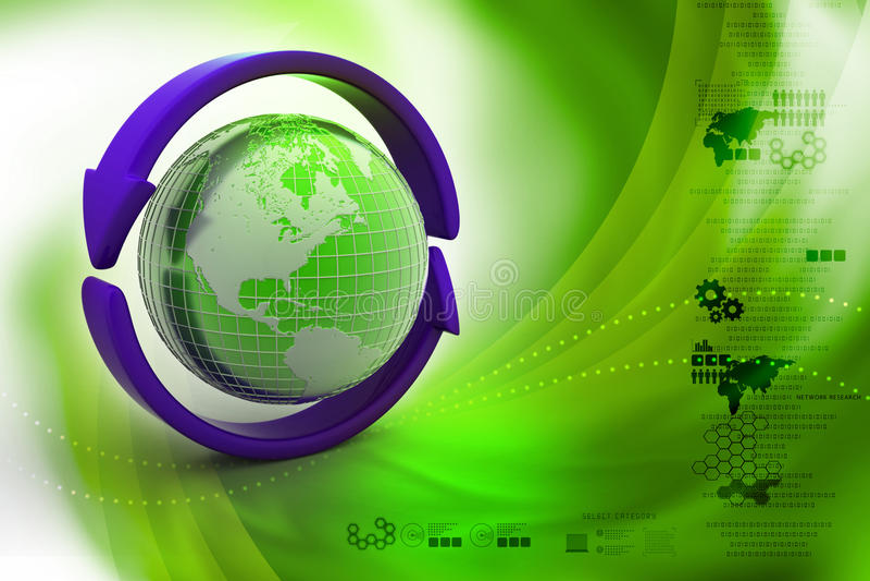 Aarde met pijl rond cirkel vector illustratie