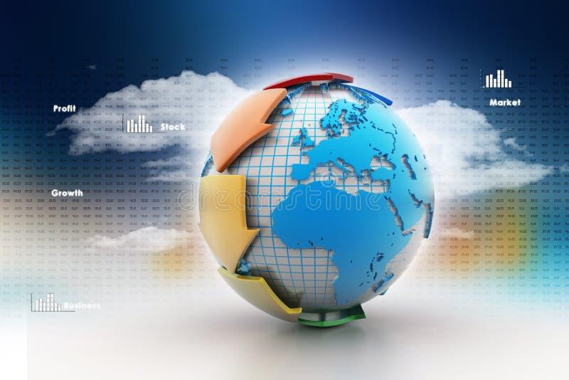 Aarde met pijl rond cirkel stock illustratie