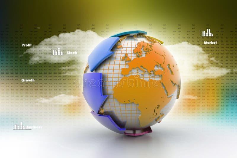Aarde met pijl rond cirkel royalty-vrije illustratie