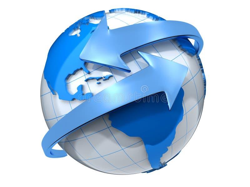 Aarde met pijlen stock illustratie