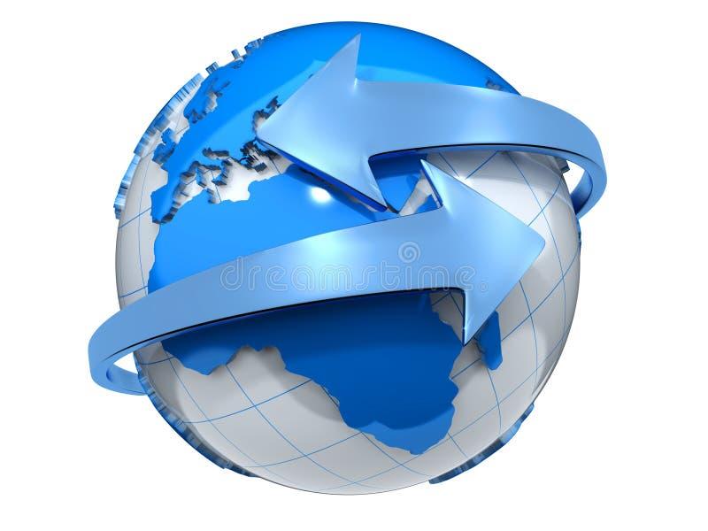 Aarde met pijlen royalty-vrije illustratie