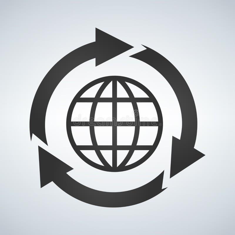 Aarde met pijlen rond cirkel royalty-vrije illustratie