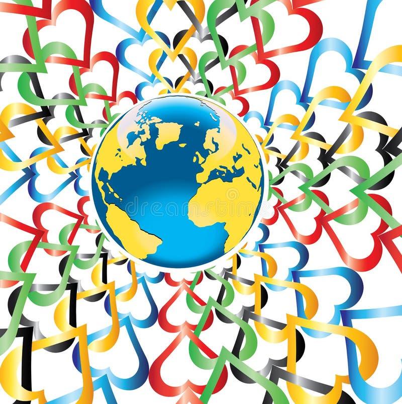 Aarde met rond harten in Olympische kleuren stock illustratie