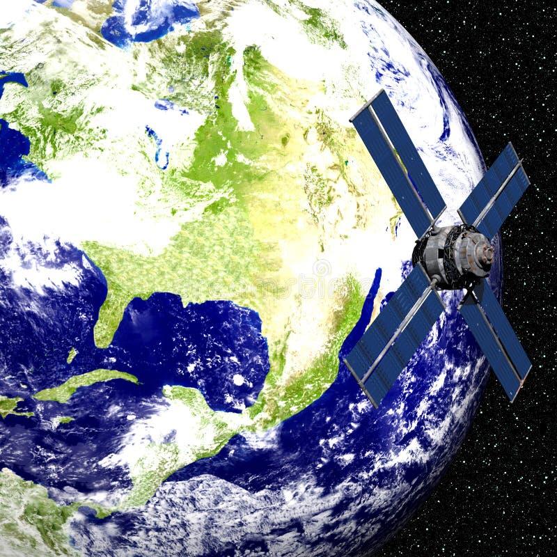 Aarde met Satelliet stock illustratie