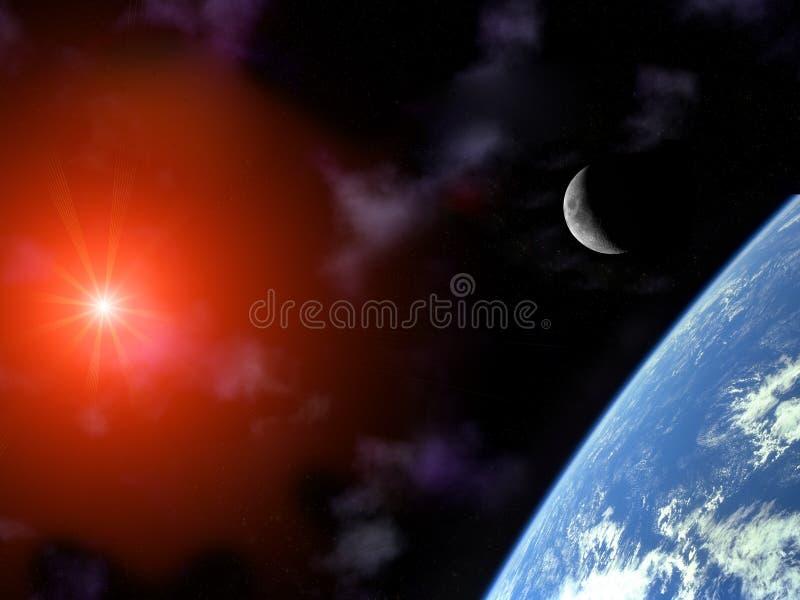 Aarde met toenemende maan en zon over heelal stock illustratie