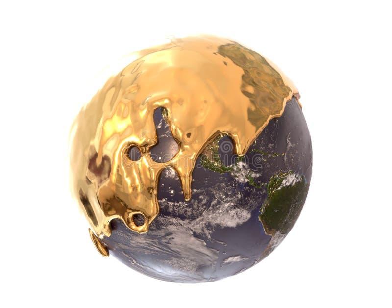 Aarde met vloeibare gouden, 3d illustratie wordt behandeld die stock foto's