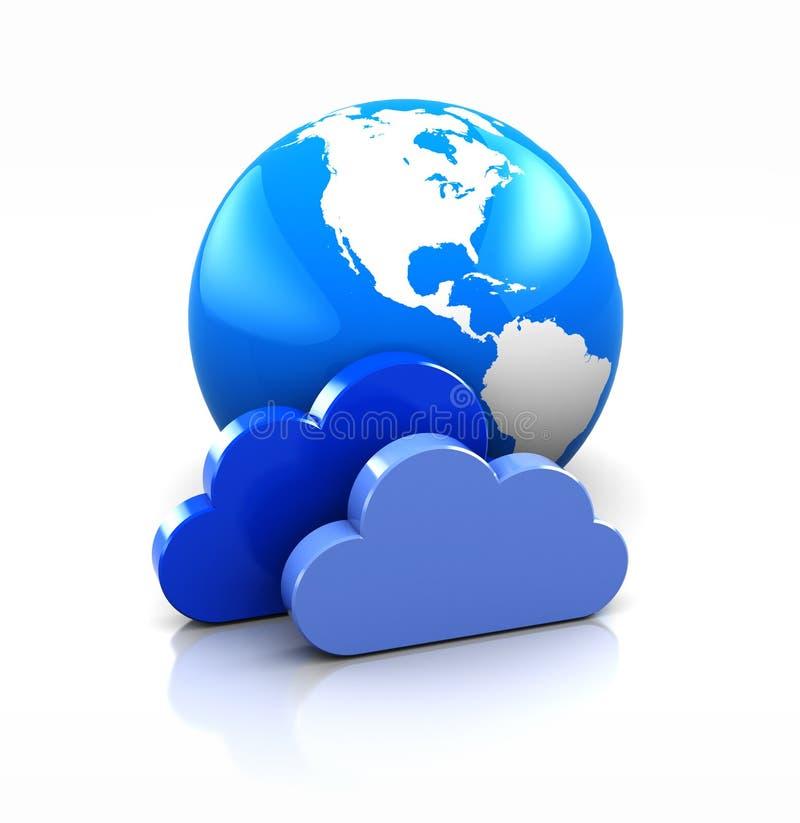 Aarde met wolken royalty-vrije illustratie